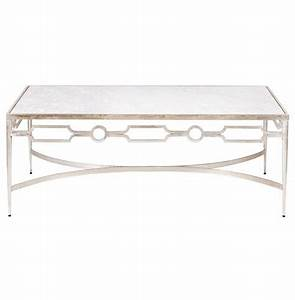 barre hollywood regency silver white marble coffee table With white and silver coffee table