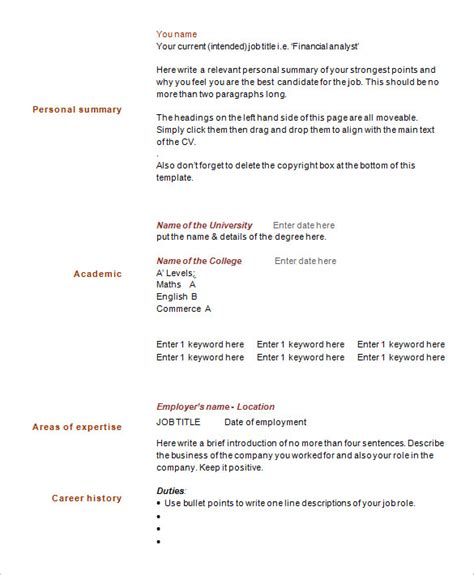 How To Make A Simple One Page Resume by One Page Resume Template Cyberuse