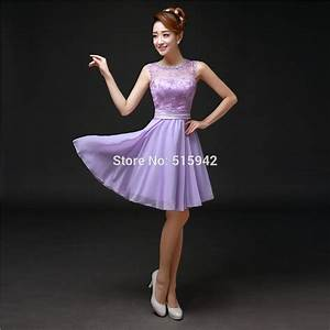 2015 Sexy Light Purple Short Chiffon Bridesmaid Dress Lace ...