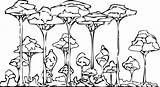Rainforest Coloring Pages Printable Trees Forest Drawing Rain Clipart African Animals Layers Colouring Cute Simple Getdrawings Library Comments sketch template
