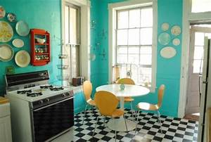 Teal checkered tiles kitchen ideas pinterest teal for Kitchen colors with white cabinets with pop art wall murals