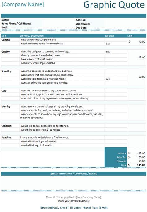 22 new Graphic Design Price Quote Template