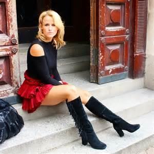 Women Wearing Skirt Boots