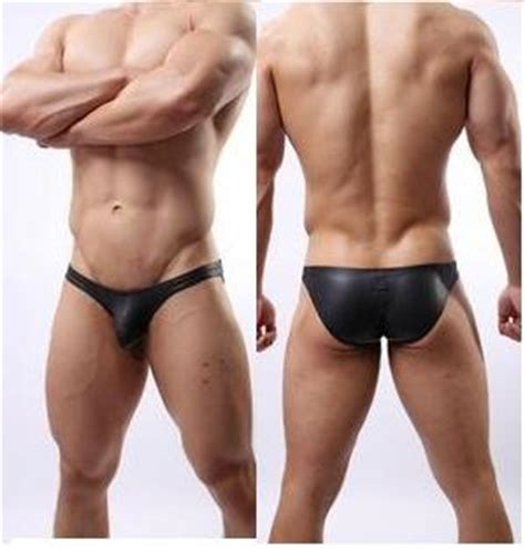 gay swimsuit gay mens swimwear briefs faux leather pouch swim wear