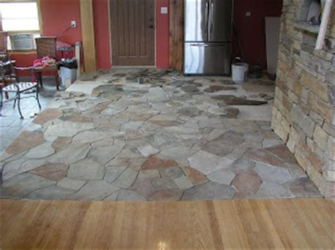 Kitchen Floor Flagstone Tiles by Building A Timberframe Home From Scratch Flagstone