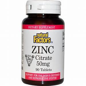 Natural Factors  Zinc Citrate  50 Mg  90 Tablets