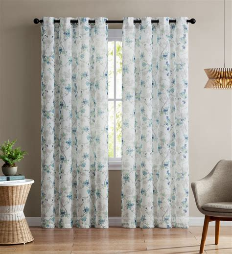 white and teal curtains single teal and white sheer curtain panel grommets
