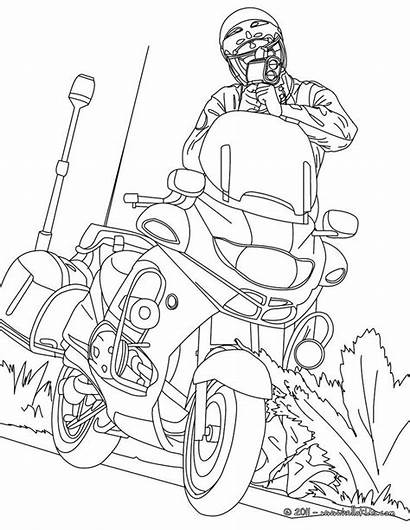 Police Coloring Pages Officer Sheets Motorcycle Traffic