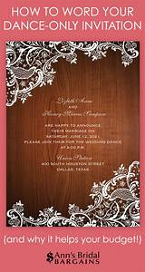 Dance only invitation wording ann39s bridal bargains for Examples of wedding dance invitations
