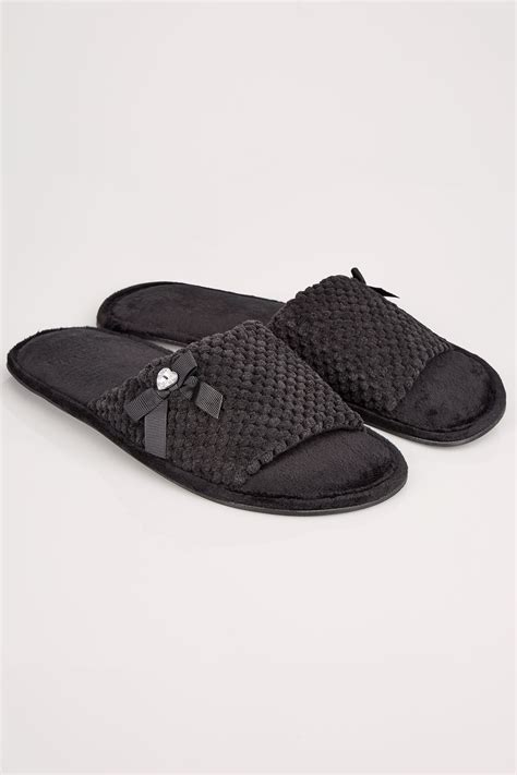c add to container with templates black slider memory foam slippers with bow diamante