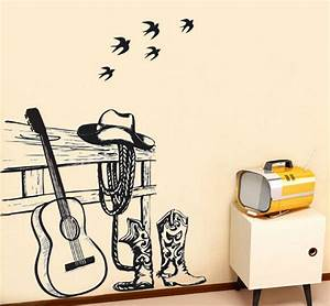 still life painting western cowboy and guitar wall sticker With good look western wall decals 2