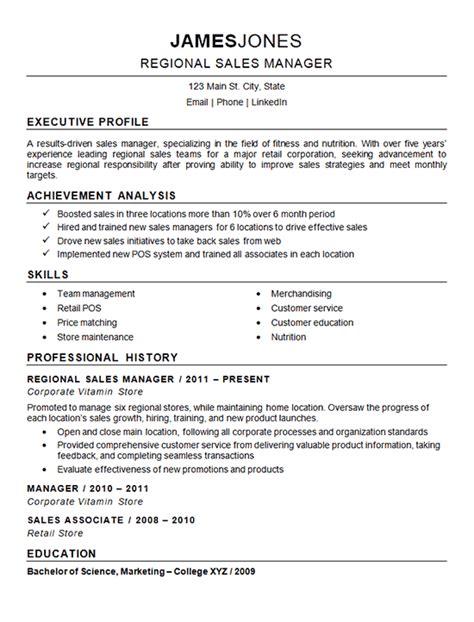 Professional Resume Help by Regional Sales Manager Resume Exle Resume Exles