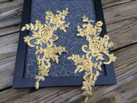 gold applique a110 two pairs gold color lace appliques wedding applique