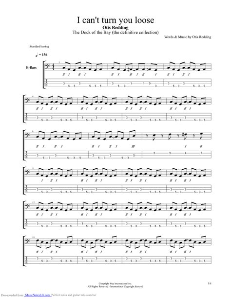 I Can t Turn You Loose guitar pro tab by Otis Redding @ musicnoteslib.com