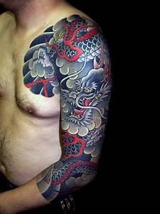 30 Dragon Half Sleeve Tattoos For Men - Fire-Spewing ...