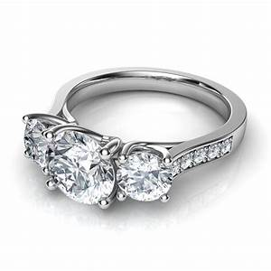 Three stone trellis engagement ring with pave diamonds for Three stone wedding ring