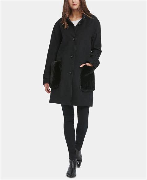 dkny coat faux fur walker pocket holmes katie pockets shocking macy