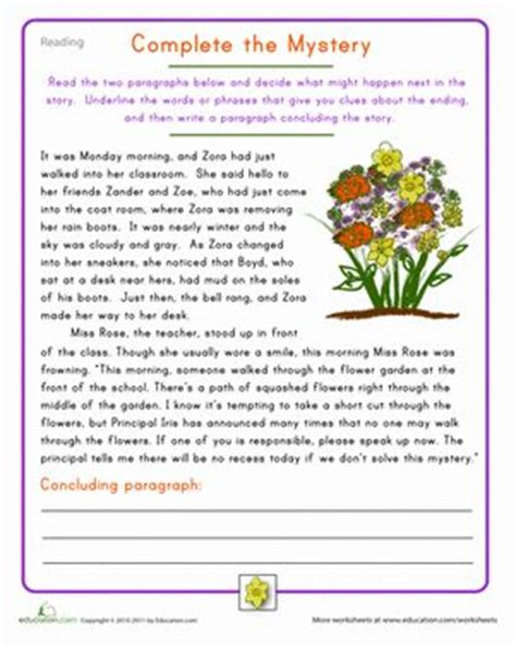 fourth grade reading practice complete  mystery