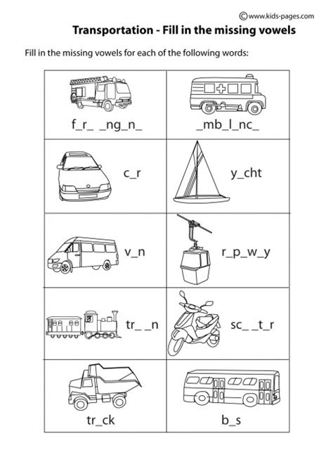 transportation fill in bw worksheet