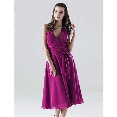 tea length chiffon bridesmaid dress fuchsia  sizes