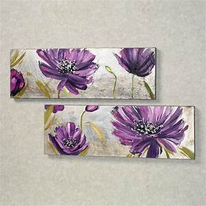 Purple allure floral canvas wall art set for Purple wall decor