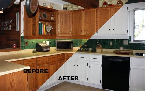 before after painting kitchen cabinets modern kitchens