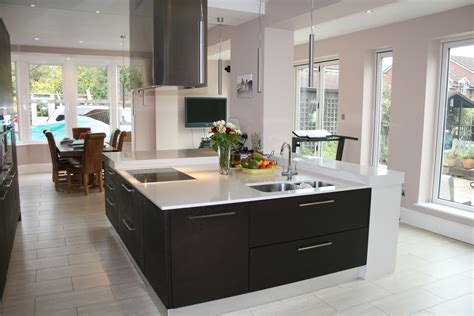 large contemporary square kitchen island built