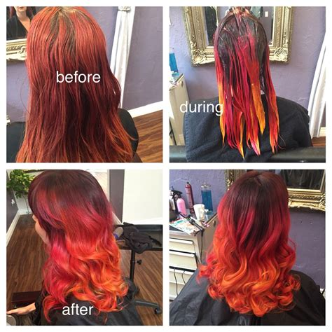 Faded Red To Deep Brown With Magenta Orange And Yellow