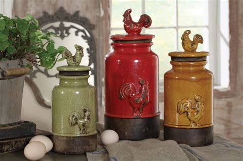 country kitchen canisters 3pc kitchen storage rooster canisters rustic vintage