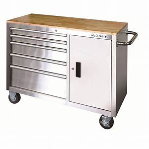 Husky 46 in 5-Drawer and 1-Door Stainless Steel Mobile