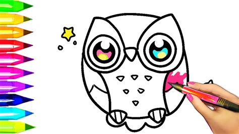 how to draw and color owl coloring pages for to learn