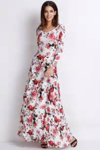 rustic romance floral long sleeves dress oasap com