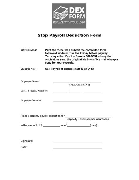 stop payroll deduction form  word   formats