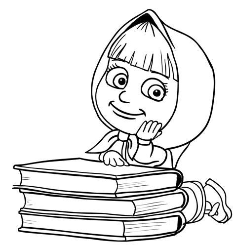 libreria urso desenho de masha nos livros para colorir