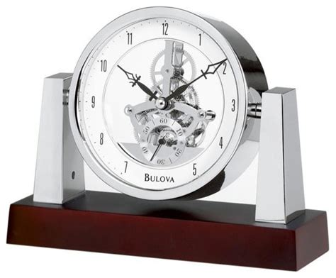 bulova largo table clock with skeleton movement model