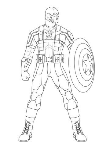 captain america ready  fight coloring page  printable coloring pages