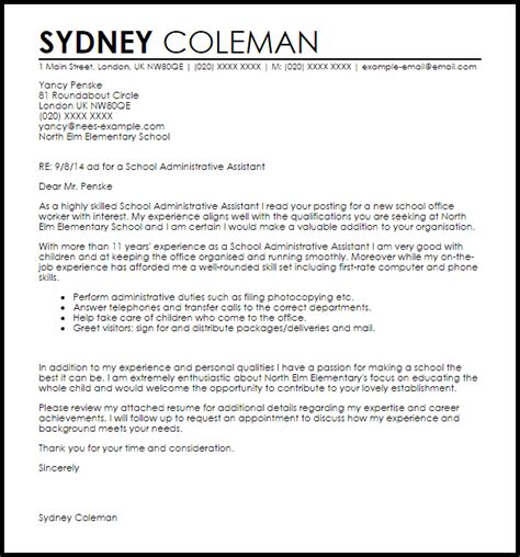 school administrative assistant cover letter sle