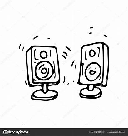 Speakers Drawn Sound Doodle Sketch Icon Element