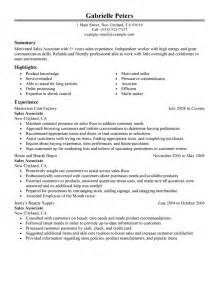 resume for sales associate with experience exle of a resume sles recentresumes