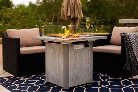 A wind guard enhances the look of the fire pit while it serves as a protective barrier confining the flame within the glass area. Outdoor Firepit Table Heater Fire Pit Ignition w/ Wind ...