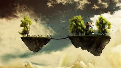 Floating Island Fantasy Sky Bridge Dream Trees