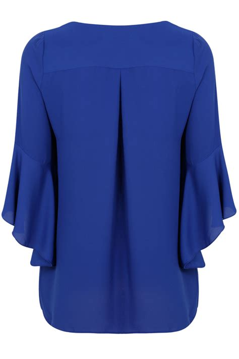 blue blouses cobalt blue blouse with bell sleeves plus size 16 to 32