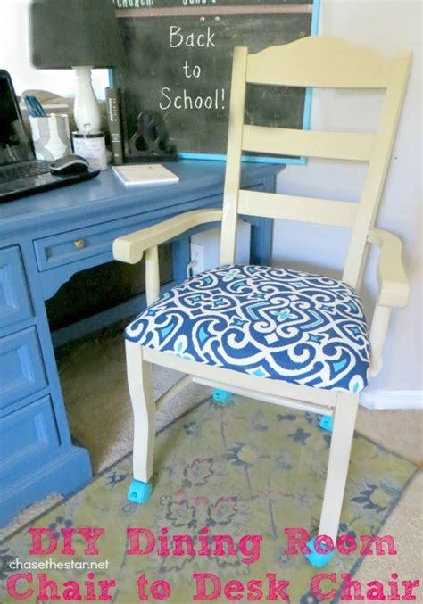 turn an ordinary dining chair into a desk chair with