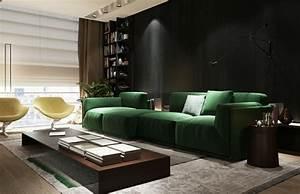 Canape Vert Emeraude : canap vert dans le salon contemporain et id es d co assortie ~ Teatrodelosmanantiales.com Idées de Décoration