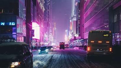 4k Night Street Lights York Neon Wallpapers