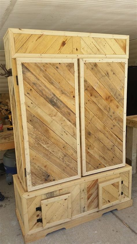 pallet wood gun cabinet plans recycled wood pallets finished this is a pallet wood gun