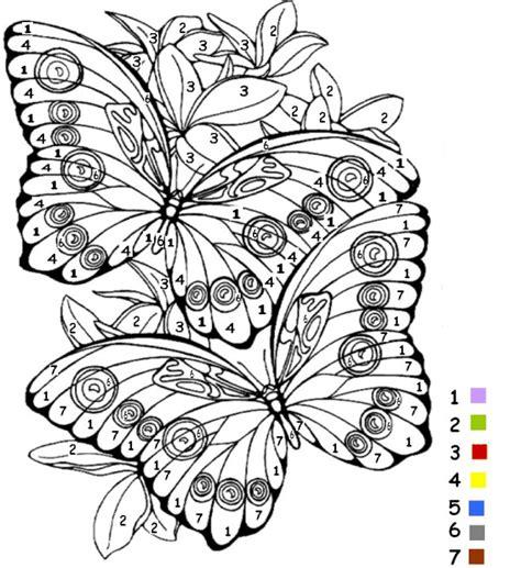 coloriage magiques chiffres papillons dessin gratuit