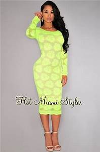 Neon Yellow Floral Lace Nude Illusion Midi Dress