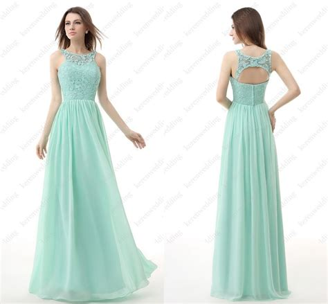 Simple But Elegant Open Back Chiffon And Lace A Line Custom Made Long Bridesmaid Dresses ...
