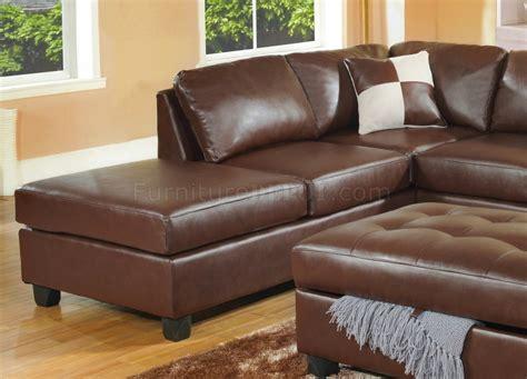 Brown Bonded Leather Modern Sectional Sofa W/storage Ottoman